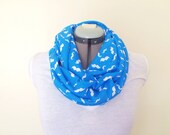 Infinity Scarf - Blue & White Mustaches