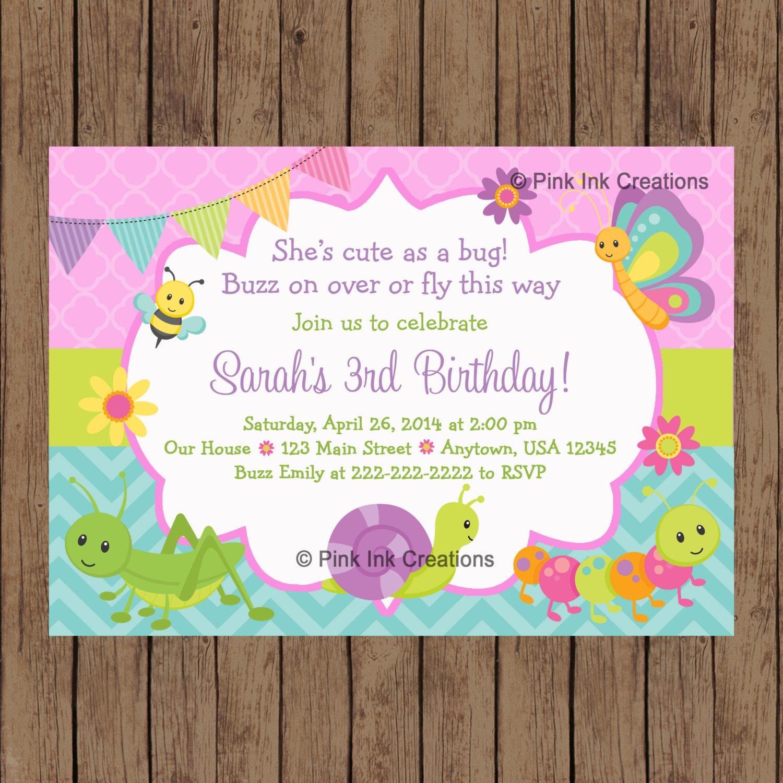 CUTE as a BUG Birthday Invitation Garden Birthday Invitation