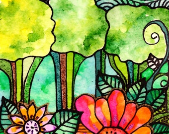 Garden print sunrise print flower