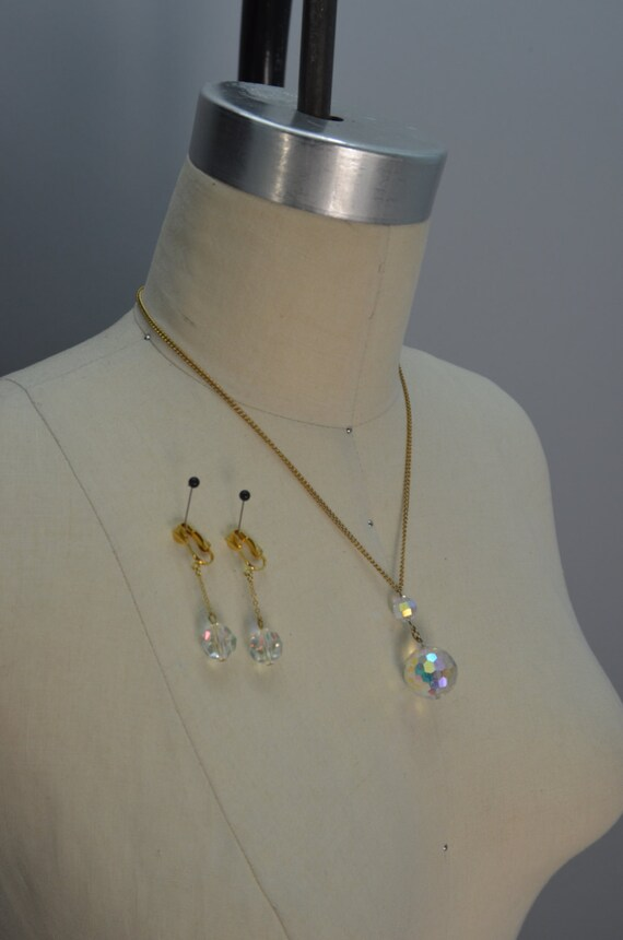 1960s necklace Vintage costume jewelry crystal pendant necklace and earrings demi parure set