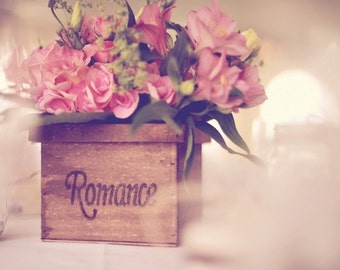 Rustic Wedding Wooden Box Centerpiece Flowers Personalized Woodburned Vase Country barn style Table Decoration