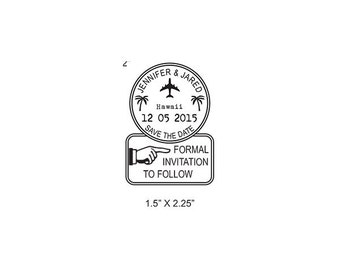 Custom Palm Trees Passport Postmark Formal Invite to Follow  Rubber Stamp AD347