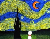Westie Terrier Dog Folk Art PRINT Todd Young painting Starry Sky