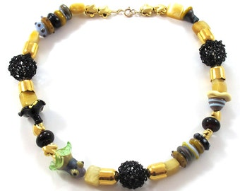 Lampwork necklace, gold filled necklace, Lampwork beads necklace, Mix necklace, black, ivory SRA