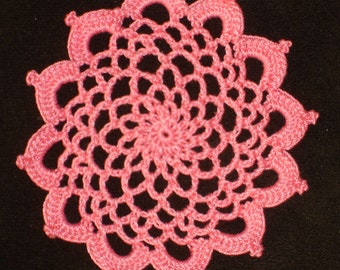 "New Handmade Crocheted ""83"" Coaster/Doily in Coral"