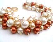 Fall Wedding Bracelet, Burnt Orange Bracelet, Bridesmaid Bracelet, Ivory Gold Bridal Jewelry, Pearl Bridesmaid Bracelet, Cluster Bracelet