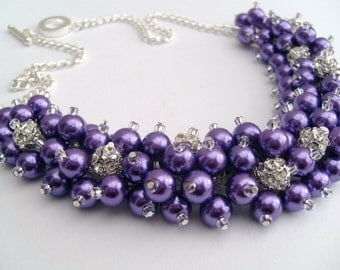 Purple Necklace, Pearl and Rhinestone Beaded Necklace, Bridal Jewelry, Cluster Necklace, Chunky Necklace, Bridesmaid Gift, Wedding Jewelry