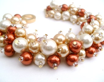 Fall Wedding Bracelet, Burnt Orange Bracelet, Bridesmaid Bracelet, Ivory Gold Bridal Jewelry, Pearl Bridesmaid Bracelet, Cluster Bracelet