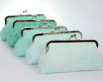 Mint wedding, bridal clutch, bridesmaids gift idea, personalized wedding gift, beach wedding