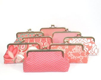 Coral Bridesmaids Clutches Personalized Womens Gift Clutches Bridesmaids Gift Handmade Bags Customize Clutch Wedding Bridal Clutch