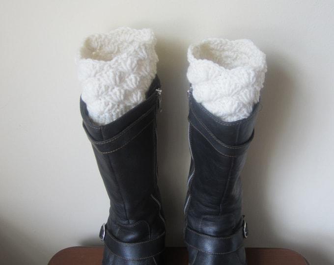 Boot socks,  boot cuffs, leg warmers, OFFWHITE,  Crochet Women Boot cuffs, Women Leg Warmers,  Boot Topper, boot socks, faux  boot socks,