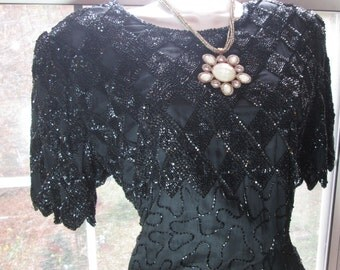 Black beaded dress SALE  vintage silk  cocktail evening party flapper medium from vintage opulence on Etsy