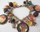 Paris Charm Bracelet Bohemian Art Nouveau Style with Glass Beads