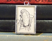 Owl from Winne the Pooh - Soldered Glass Charm - Wise Owl Charm - Owl Book Charm - Vintage Owl from Winnie the Pooh - Owl Pendant