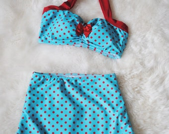 The Dottie ... Teal and Red Polka dot two piece Pin Up high waist bikini Swimsuit Bow sizes xs-xl