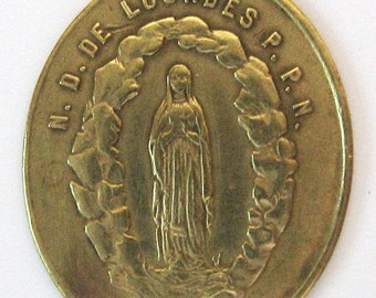 Antique Lourdes Immaculate Med Sized French Religious Medal Pendant Charm