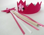Wool Felt Crown and Wand -- fuschia with pink flower