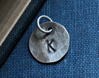 Hand Hammered Sterling Silver Personalized Initial Charm - ROUNDABOUT