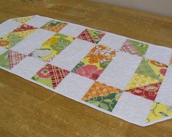Table Topper In Bright Spring Colors Patchwork Design And