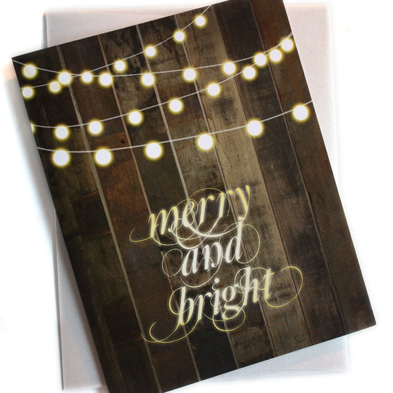 Christmas String Lights Background : Items similar to Holiday Cards / Christmas Cards - Set of 24 - Globe String Lights Merry and ...
