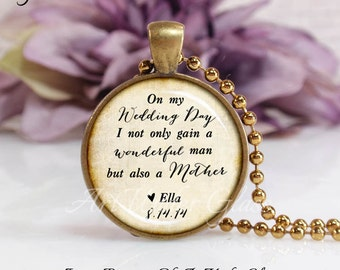 Round Medium Glass Bubble Pendant Necklace- Mother Of The Groom- Antique Tan Background Custom Name & Wedding Date