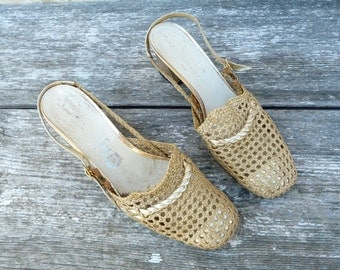 Vintage 1960 shoes braided gold  size 6.5