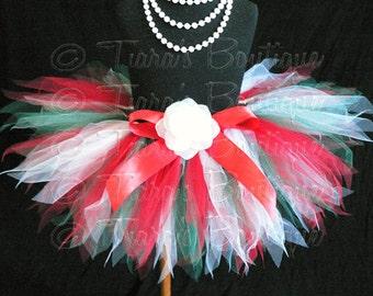 "Baby Tutu Skirt, Girls Christmas Tutu, Red White Green Pixie Tutu, True Christmas, Sewn 8"" Pixie Tutu, sizes Newborn to 12 months"