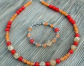 In Colorful Summer  Colors - Citrine  and Brazilian Topaz Necklace and Bracelet Set