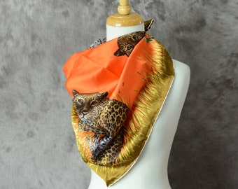 Vintage Cat Scarf Leopard Orange Large Square Silk