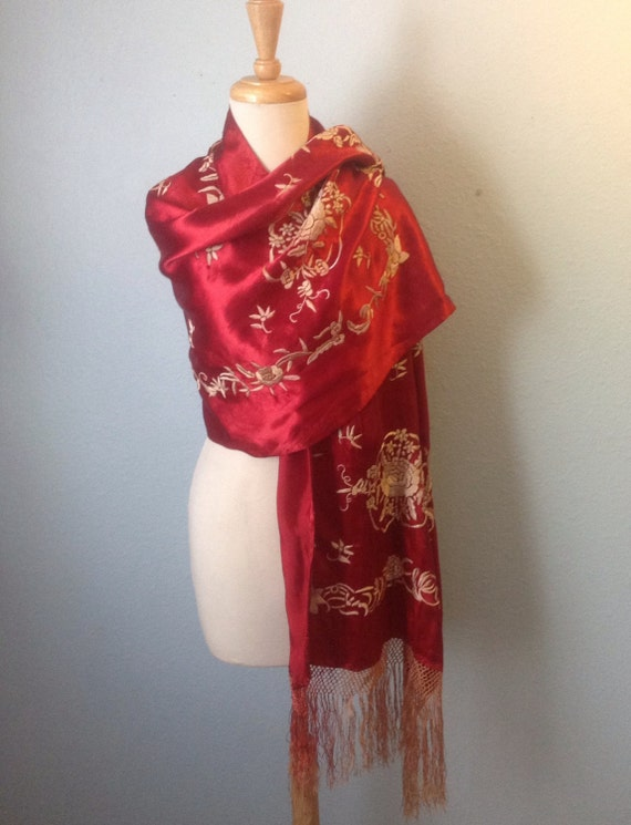 Vintage Shawl Red Rayon Embroidered Floral Motif Piano Shawl