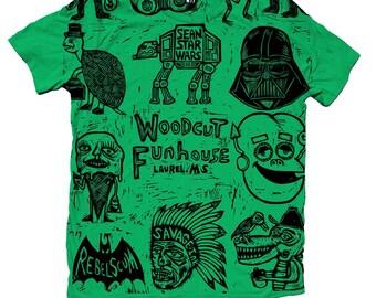 Allover woodcut printed graphic tshirt