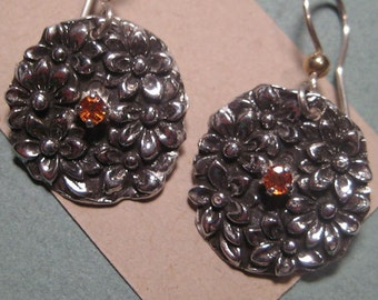 Orange Sapphire Floral Earrings .......  Sterling Silver .........      e687