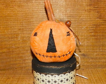Primitive Halloween Jack O Lantern on Box with Hand Stamped Spider Tag