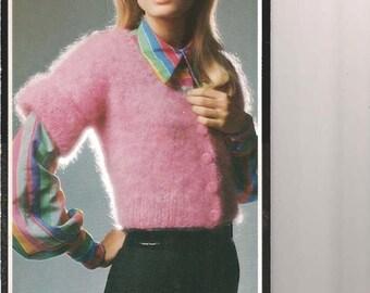 Vintage Short Sleeve Scoop Neck Knit Cardigan Pattern (BtWg) _ PDF