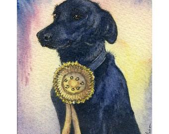 Black Labrador Retriever dog 8x10 art print - Good dog rosette