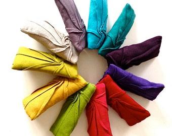 starburst zip clutch  -  linen clutch - linen bag