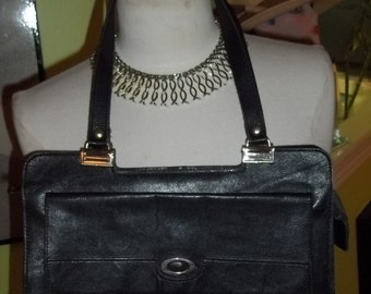 Elegant and OH SO Chic Black Leather Vintage Purse with So Much Personality