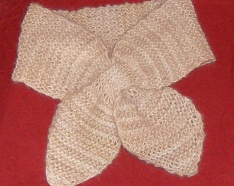 hand knitted 100 per cent cashmere lotus leaf neck scarf