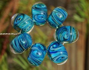 Blue Bayou - Set of 7 Encased Lampwork Beads - Dan O Beads