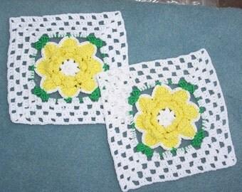 2 yellow rose cotton thread crochet blocks -- 67