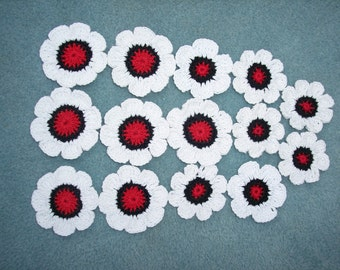14 crochet applique flowers in red, black, and white --  1265