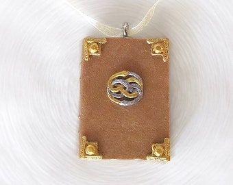 Neverending Story Book Pendant and Ribbon Necklace