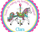 Carousel Horse Stickers, Carousel Birthday Party, Birthday party, Birthday, Children, Labels, favor stickers, set of 12