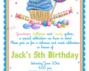 Cupcake invitations, Wonderland Sweet Shoppe Invitations, Boys, Candy invitations, Cupcake, Candy, Lollipop, birthday party