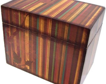 Recipe Box, Wedding Guest Book Box, Holds 4x6 Cards, Bridal Shower Gift, Storage and Organization, Large Box, Fall Stripe Box, MADE TO ORDER