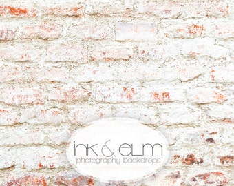 """Vinyl Photography Backdrop 5ft x 5ft, White Distressed brick wall with red Photo Backdrop, White Brick Background, Photo Prop, """"Seeing Red"""""""
