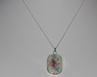 Pink Flower Necklace - Petite Pottery Shard Pendant on 16 inch Sterling Silver Chain