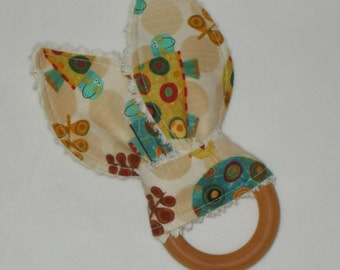 Turtle Rabbit Ears Wooden Teething Ring - SALE
