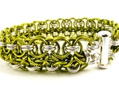 Chartreuse Chainmaille Bracelet, Green Chainmail Jewelry, Green and Sterling Silver