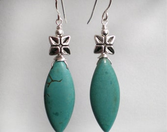 Turquoise Marquise drop Sterling Silver hooks earrings